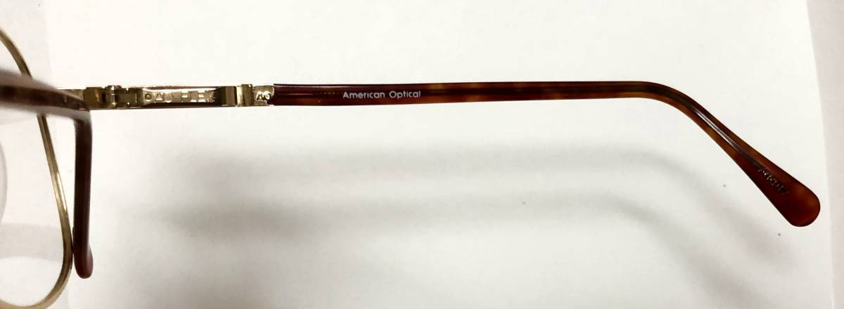 新品箱付】20K金 アメリカンオプティカル 80年代 琥珀色 べっ甲柄 AO American Optical メガネ 米国ブランド_画像5