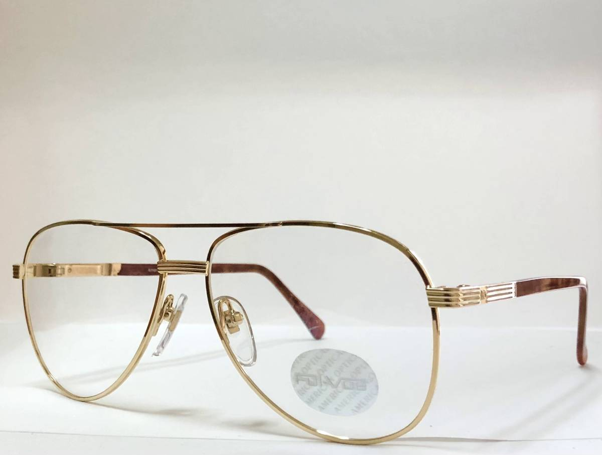 新品箱付】20K金 アメリカンオプティカル 80年代 琥珀色 べっ甲柄 AO American Optical メガネ 米国ブランド_画像3