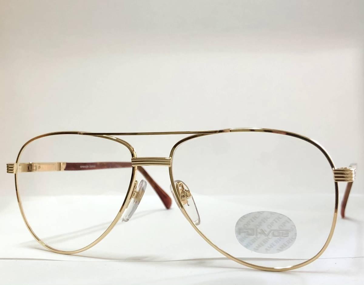 新品箱付】20K金 アメリカンオプティカル 80年代 琥珀色 べっ甲柄 AO American Optical メガネ 米国ブランド_画像2