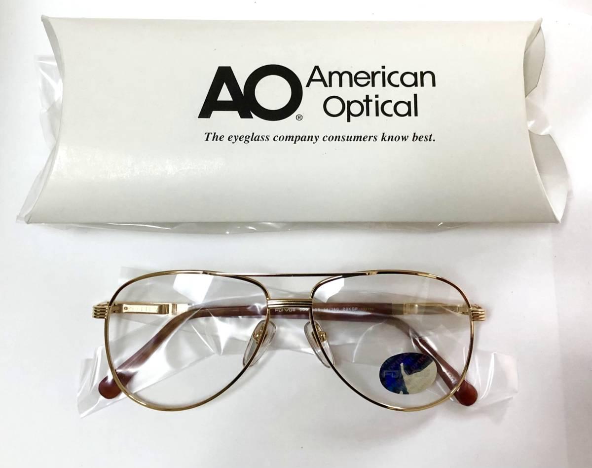 新品箱付】20K金 アメリカンオプティカル 80年代 琥珀色 べっ甲柄 AO American Optical メガネ 米国ブランド_画像9