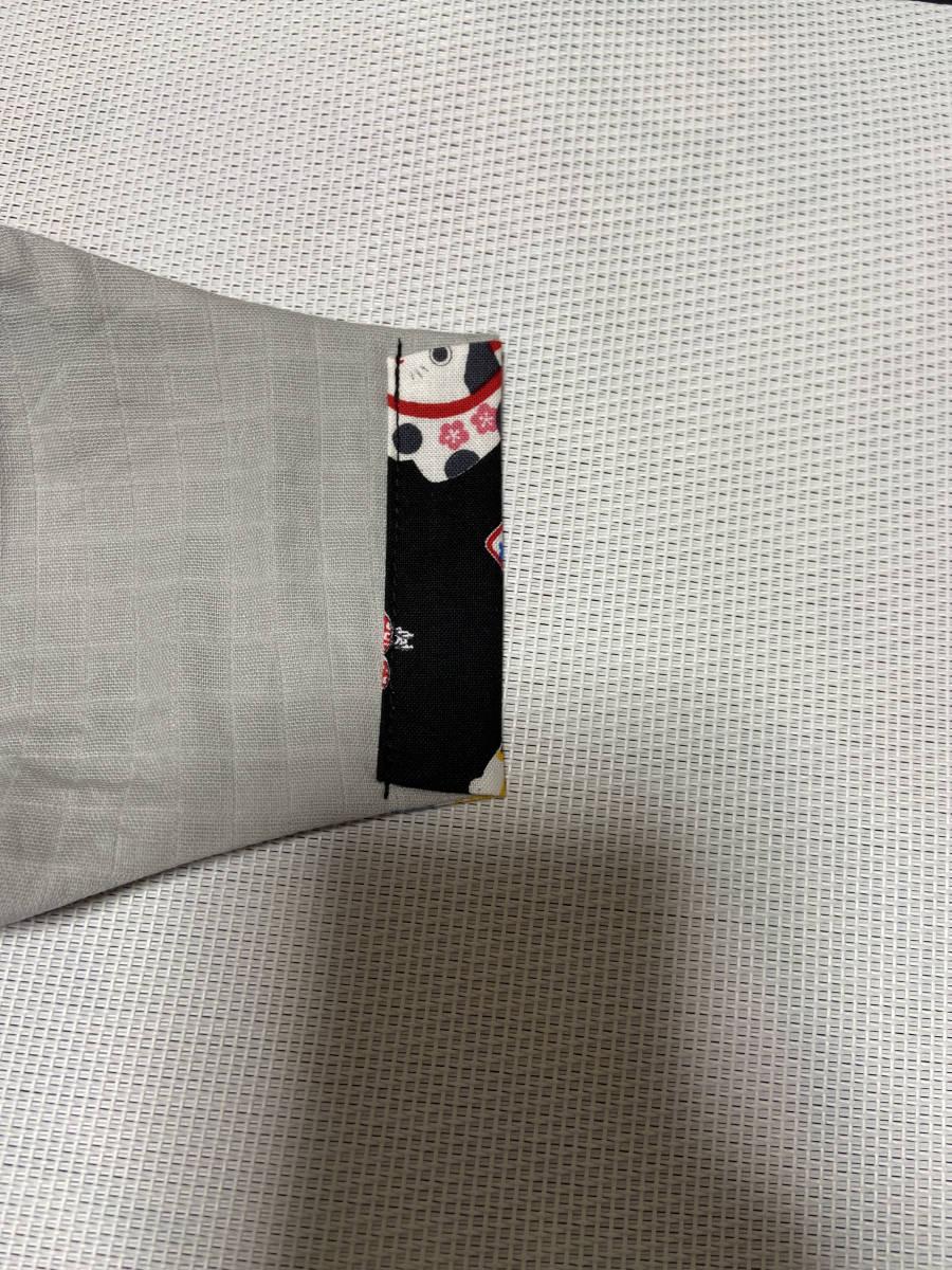 ハンドメイド*和柄 ダルマ 招き猫*立体インナーマスク*普通サイズ*ブラック*No.1507_画像3
