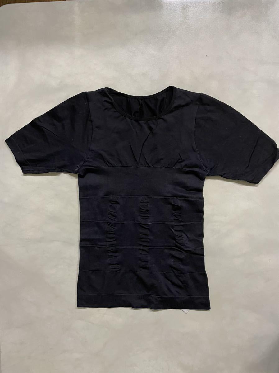 【送料無料、中古品2着】加圧シャツ Mサイズ 加圧インナー 補正下着 ダイエット 腹筋 半袖 メンズ