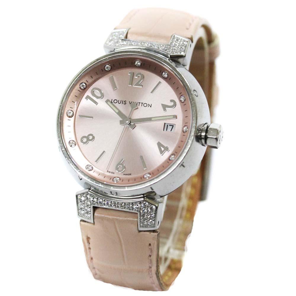 即決 ルイ ヴィトン タンブール ラグダイヤ 12Pダイヤ 腕時計 レディース クオーツ メタリックピンク文字盤 シルバー ピンク系 Q13MY_画像2