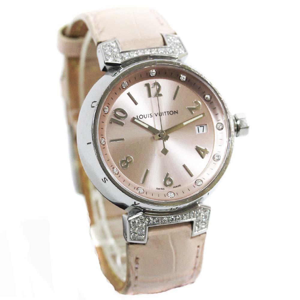 即決 ルイ ヴィトン タンブール ラグダイヤ 12Pダイヤ 腕時計 レディース クオーツ メタリックピンク文字盤 シルバー ピンク系 Q13MY_画像1
