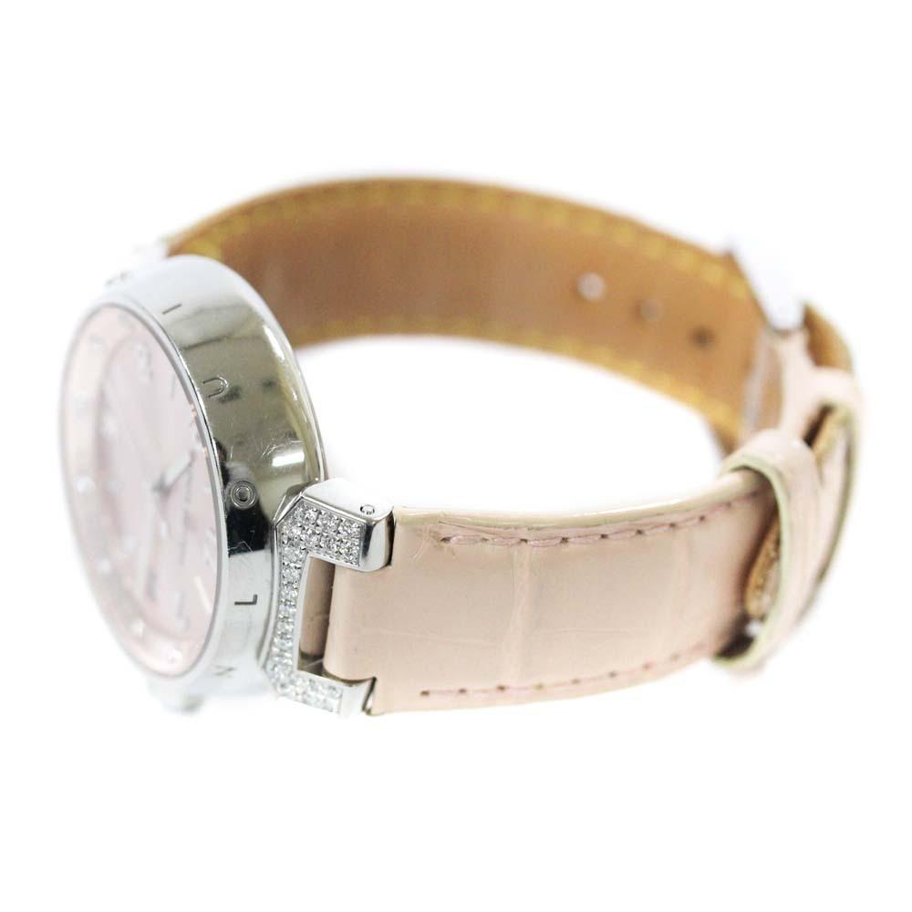 即決 ルイ ヴィトン タンブール ラグダイヤ 12Pダイヤ 腕時計 レディース クオーツ メタリックピンク文字盤 シルバー ピンク系 Q13MY_画像5