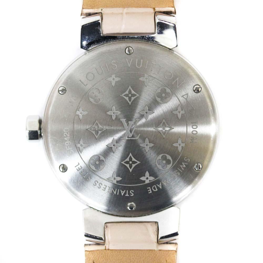 即決 ルイ ヴィトン タンブール ラグダイヤ 12Pダイヤ 腕時計 レディース クオーツ メタリックピンク文字盤 シルバー ピンク系 Q13MY_画像7