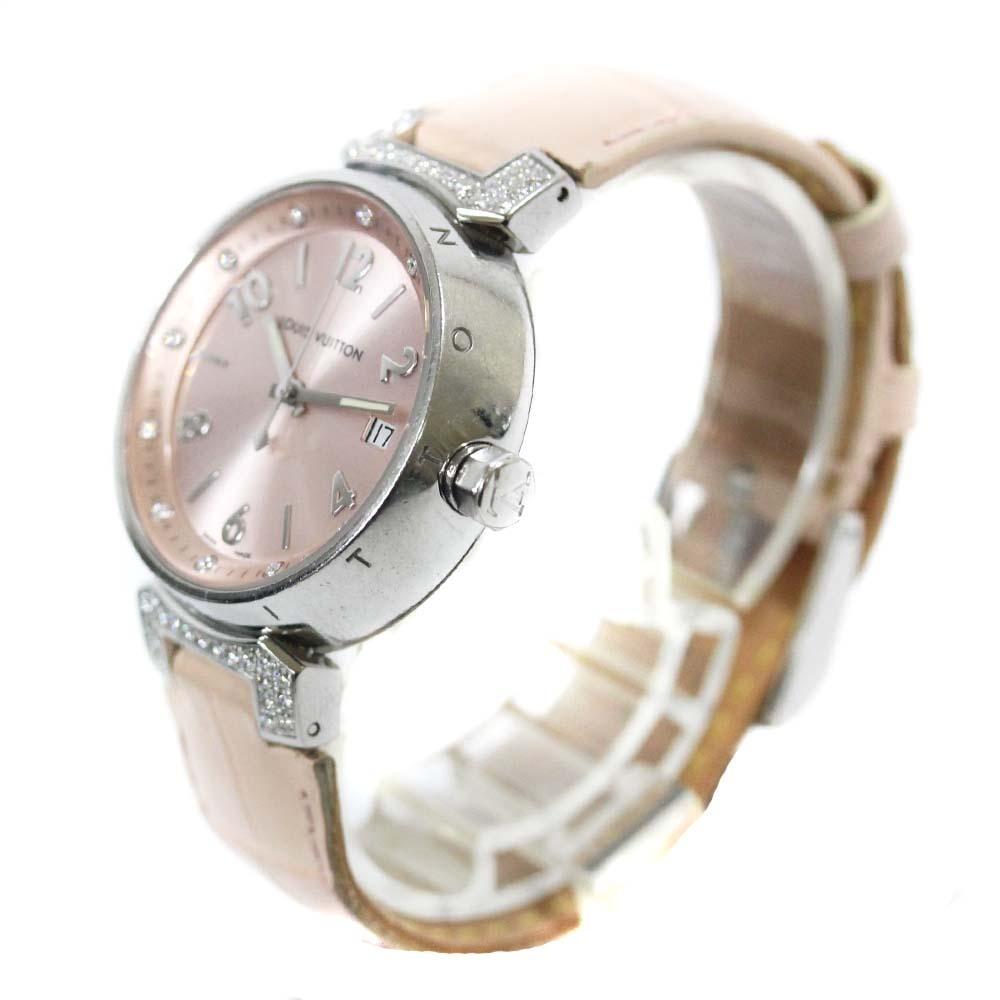 即決 ルイ ヴィトン タンブール ラグダイヤ 12Pダイヤ 腕時計 レディース クオーツ メタリックピンク文字盤 シルバー ピンク系 Q13MY_画像3