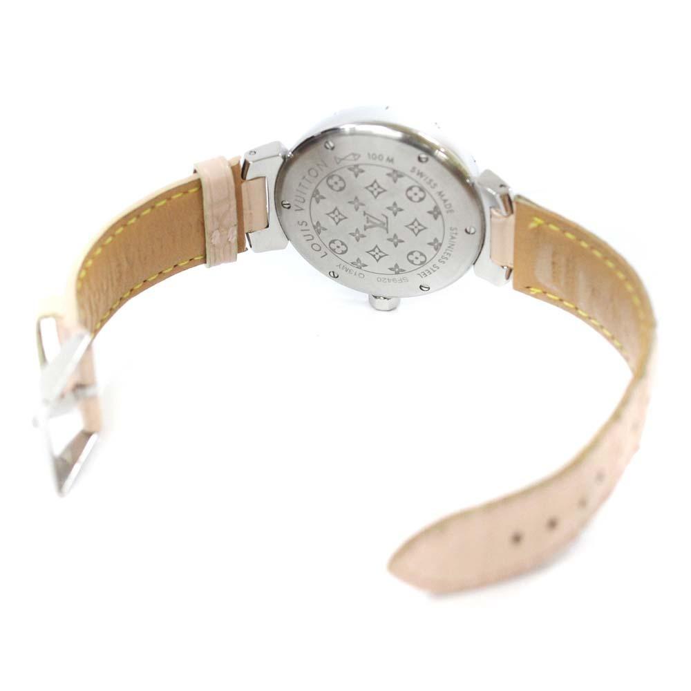 即決 ルイ ヴィトン タンブール ラグダイヤ 12Pダイヤ 腕時計 レディース クオーツ メタリックピンク文字盤 シルバー ピンク系 Q13MY_画像6