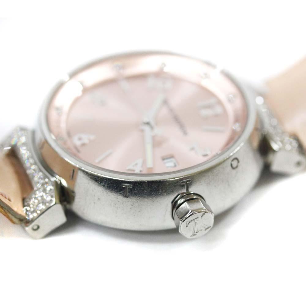 即決 ルイ ヴィトン タンブール ラグダイヤ 12Pダイヤ 腕時計 レディース クオーツ メタリックピンク文字盤 シルバー ピンク系 Q13MY_画像8