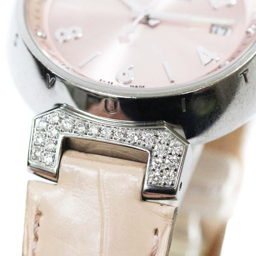 即決 ルイ ヴィトン タンブール ラグダイヤ 12Pダイヤ 腕時計 レディース クオーツ メタリックピンク文字盤 シルバー ピンク系 Q13MY_画像9