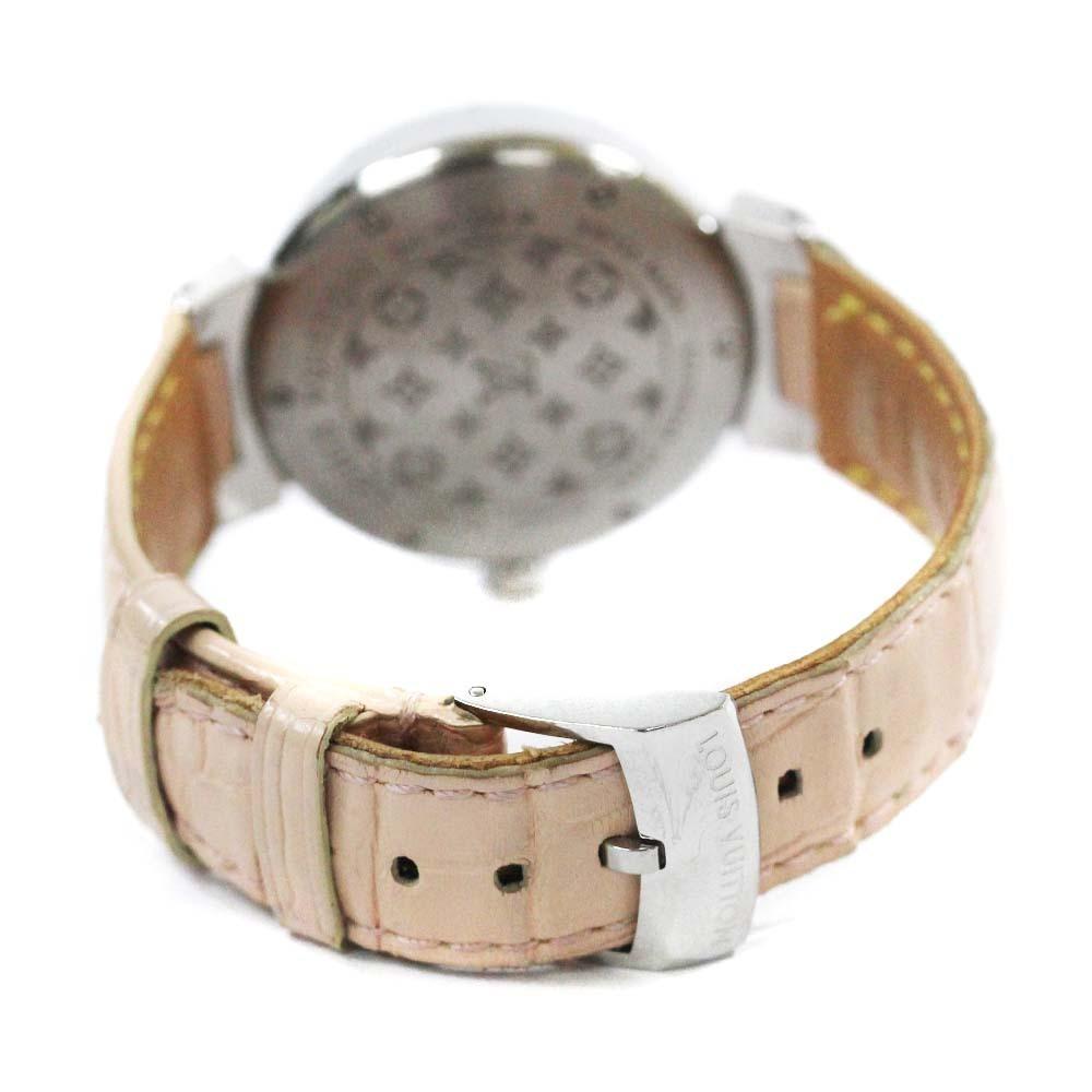 即決 ルイ ヴィトン タンブール ラグダイヤ 12Pダイヤ 腕時計 レディース クオーツ メタリックピンク文字盤 シルバー ピンク系 Q13MY_画像4
