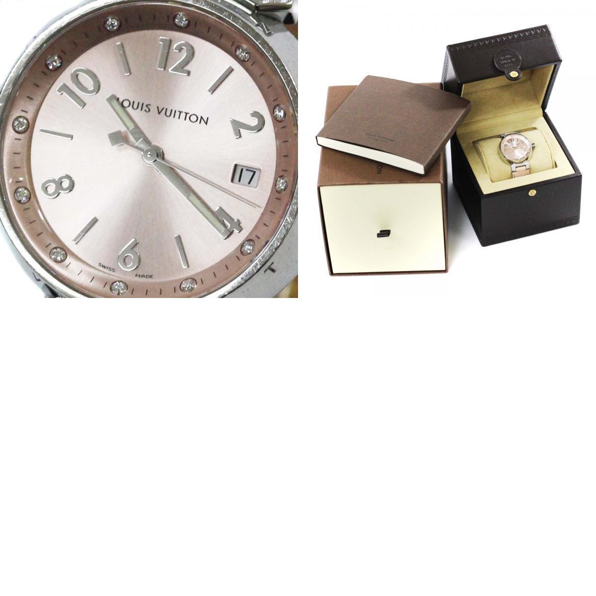 即決 ルイ ヴィトン タンブール ラグダイヤ 12Pダイヤ 腕時計 レディース クオーツ メタリックピンク文字盤 シルバー ピンク系 Q13MY_画像10