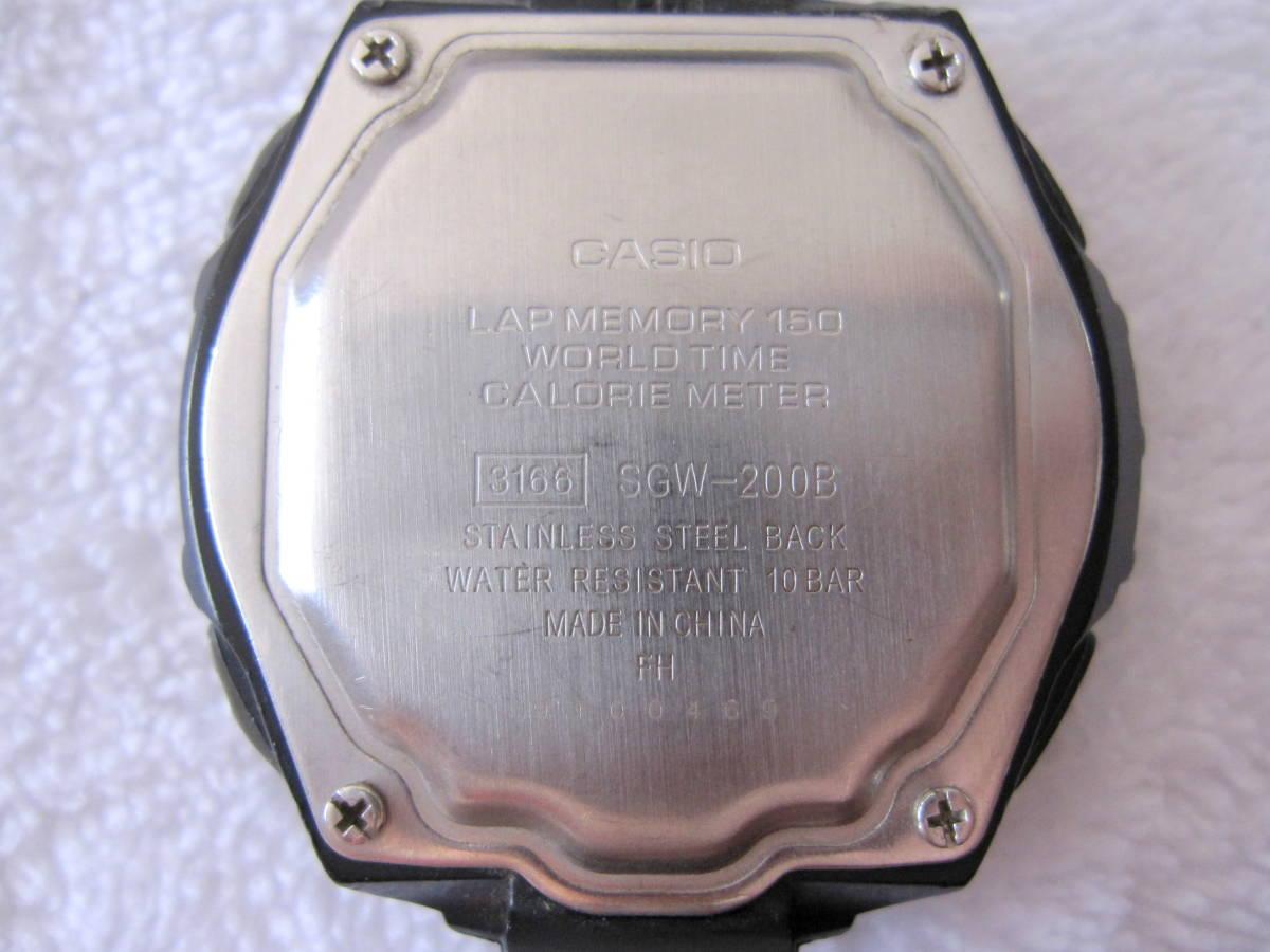 CASIO デジタル LAP & DISTANCE SGW-200 B 150LAP ベルト無し ELバックライト 稼動 中古 送140 チープカシオ チプカシ メンズ 腕時計_画像4