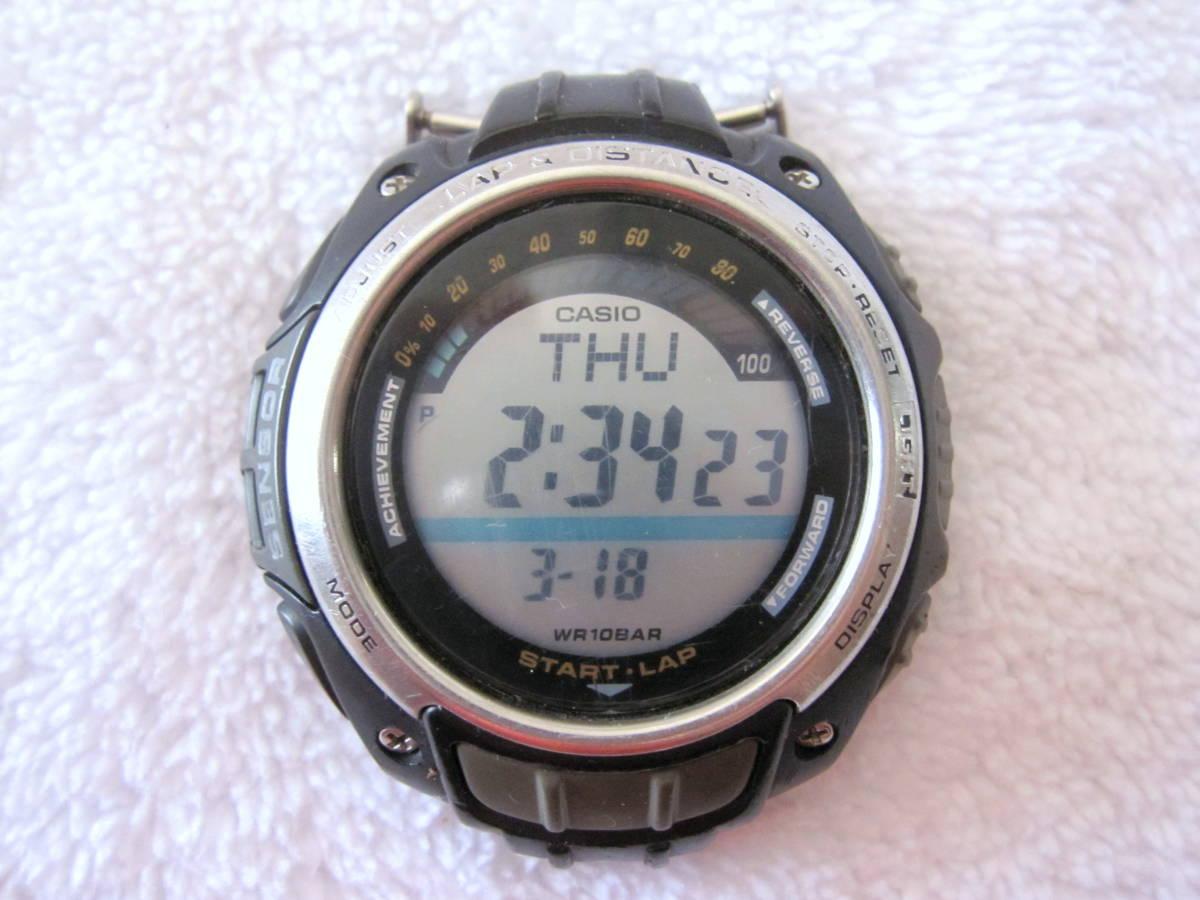 CASIO デジタル LAP & DISTANCE SGW-200 B 150LAP ベルト無し ELバックライト 稼動 中古 送140 チープカシオ チプカシ メンズ 腕時計_画像1