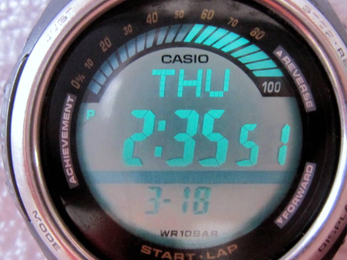 CASIO デジタル LAP & DISTANCE SGW-200 B 150LAP ベルト無し ELバックライト 稼動 中古 送140 チープカシオ チプカシ メンズ 腕時計_画像5