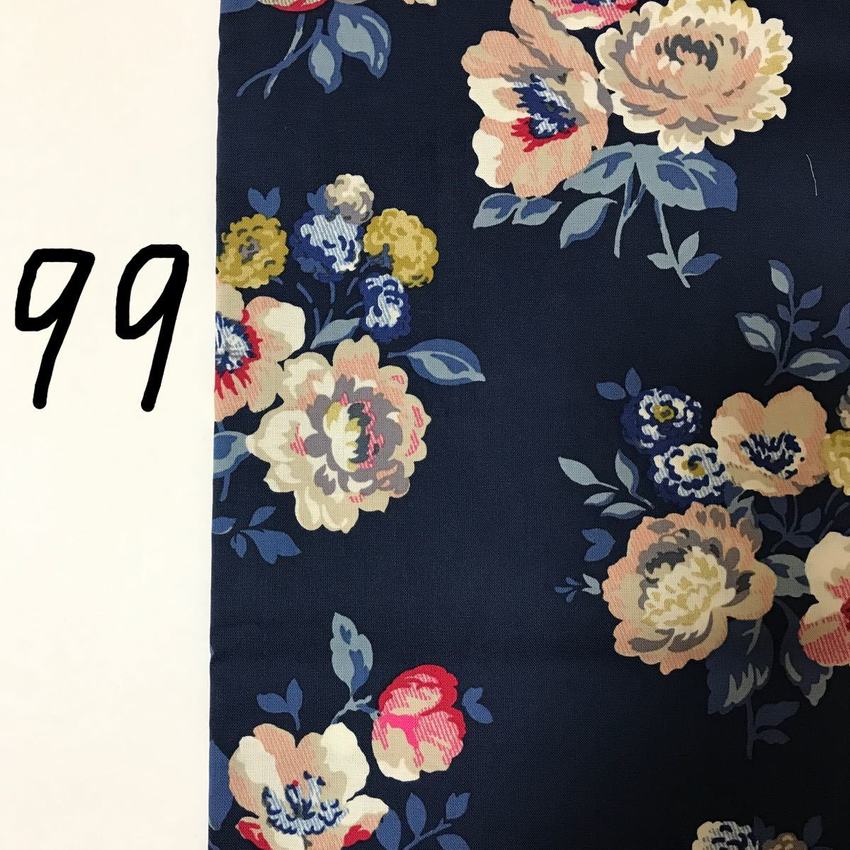 綿生地 シーチング キャスキッドソン ネイビー×渋い花柄