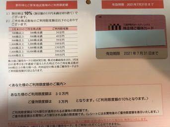 三越伊勢丹 株主優待カード 7月31日まで 30万円限度 送料無料_画像1