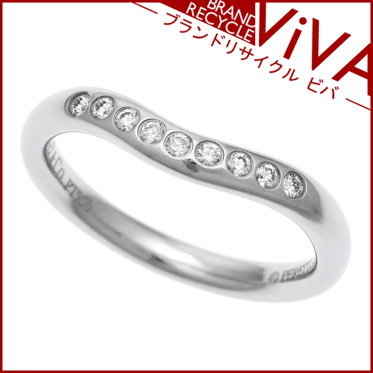 ティファニー カーブドバンド リング Pt950 プラチナ 2mm ダイヤモンド 9石 5号 美品 研磨仕上げ済 レターパックライト対応可能 送料370円