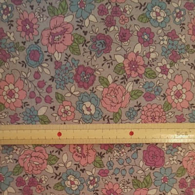 YUWA コットン85%×リネン15% 花柄 シーチング生地 生地巾約110cm×50cm