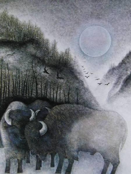 佐藤 昌美、冬、希少な額装用画集より、新品額装付、送料無料、yoshi211 絵画&油彩&自然、風景画