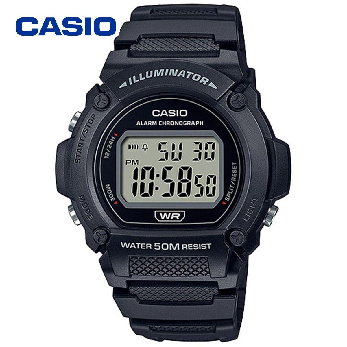 CASIO カシオ 防水 ユニセックス デジタル W219-1A ブラック シンプル メンズ レディース キッズ チープカシオ 男性 女性 子供 腕時計_画像1