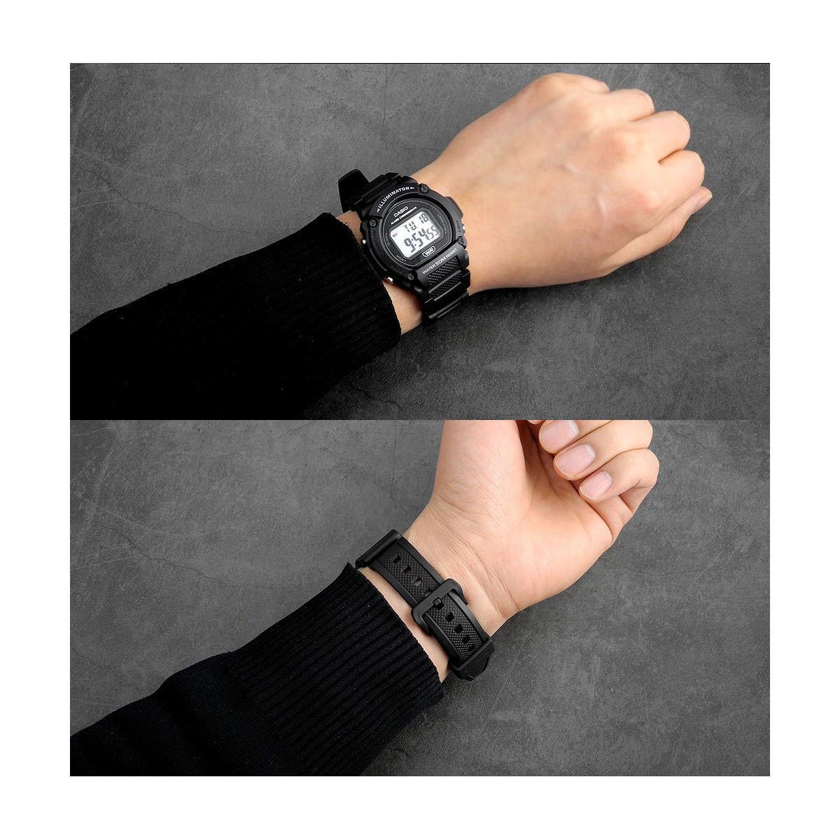 CASIO カシオ 防水 ユニセックス デジタル W219-1A ブラック シンプル メンズ レディース キッズ チープカシオ 男性 女性 子供 腕時計_画像4