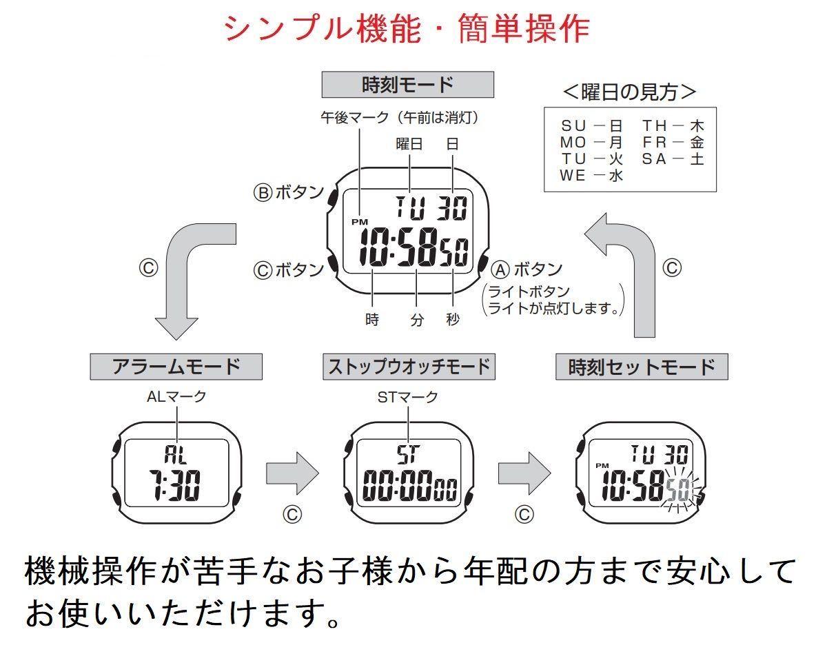 CASIO カシオ 防水 ユニセックス デジタル W219-1A ブラック シンプル メンズ レディース キッズ チープカシオ 男性 女性 子供 腕時計_画像5