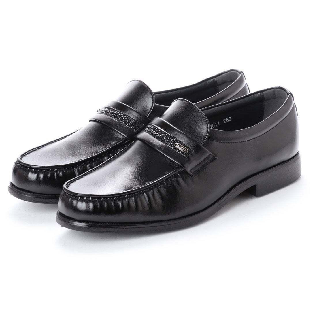 【安い】 超軽量 紳士靴 メンズ ビジネスシューズ スリッポン モカシン ウォーキングシューズ 幅広 4E 抗菌 防臭 1011 ブラック 黒 26.5cm