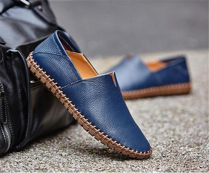 カジュアルシューズ 新品 スリッポン メンズ ローファー ドライビング 紳士靴 滑り止め 柔らかい スリッパ ブルー 26.5cm_画像1