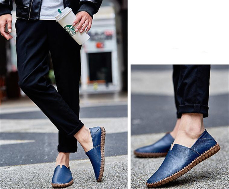 カジュアルシューズ 新品 スリッポン メンズ ローファー ドライビング 紳士靴 滑り止め 柔らかい スリッパ ブルー 26.5cm_画像4