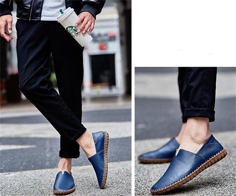 カジュアルシューズ 新品 スリッポン メンズ ローファー ドライビング 紳士靴 滑り止め 柔らかい スリッパ ブルー 27.0cm_画像4