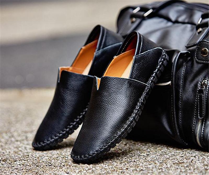 カジュアルシューズ 新品 スリッポン メンズ ローファー ドライビング 紳士靴 滑り止め 柔らかい スリッパ 黒 25.0cm_画像1