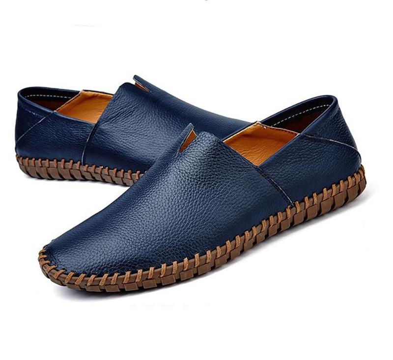 カジュアルシューズ 新品 スリッポン メンズ ローファー ドライビング 紳士靴 滑り止め 柔らかい スリッパ ブルー 27.0cm_画像2