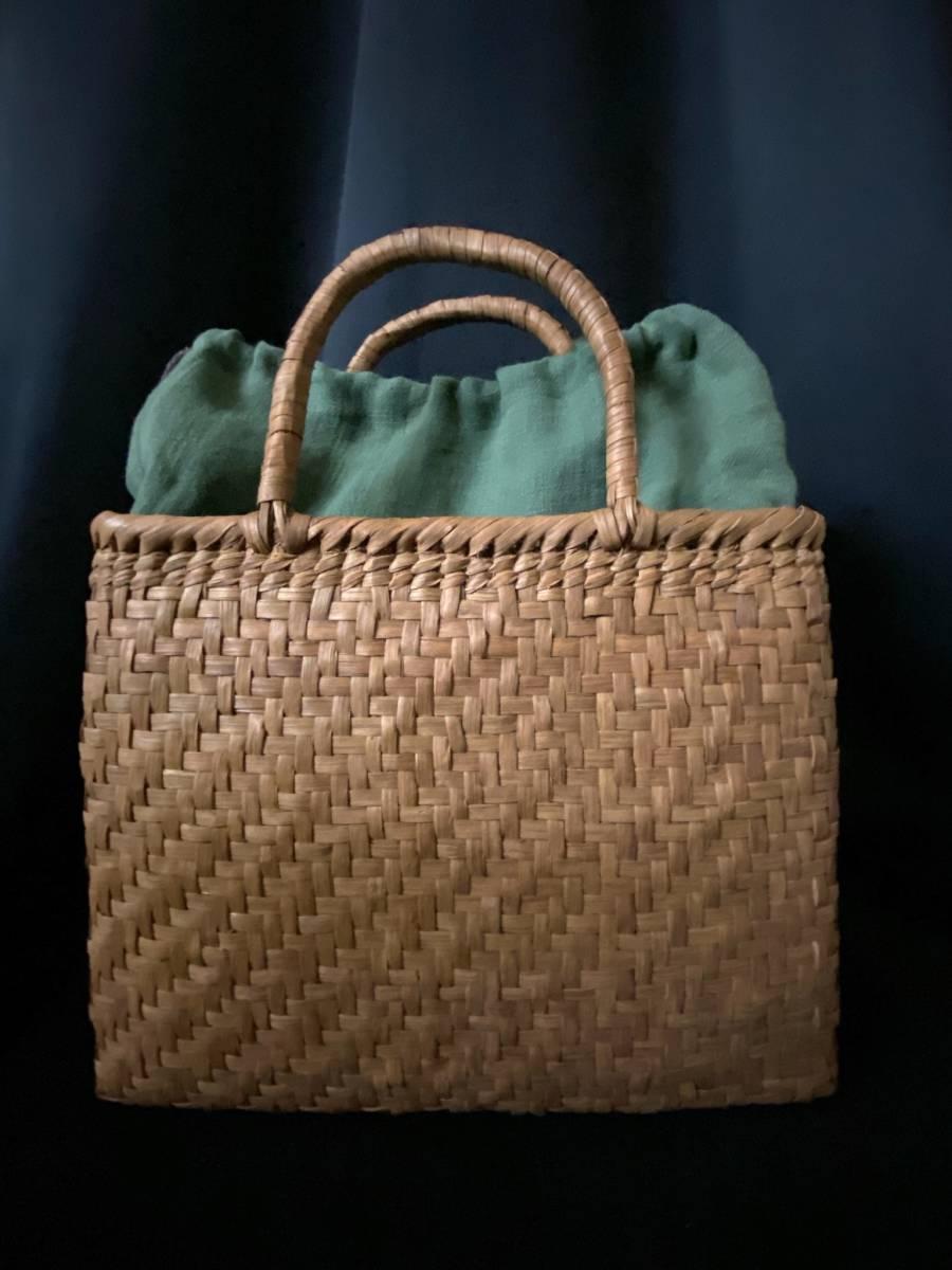 特価出品 国産蔓使用 サイズL 匠の技 職人手編み 網代編み 山葡萄籠バッグ_画像2
