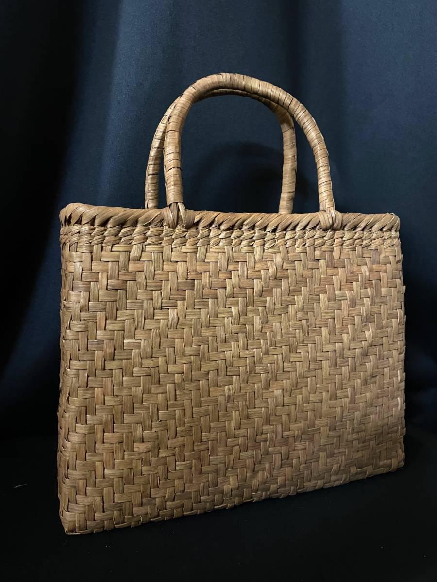 特価出品 国産蔓使用 サイズL 匠の技 職人手編み 網代編み 山葡萄籠バッグ_画像4