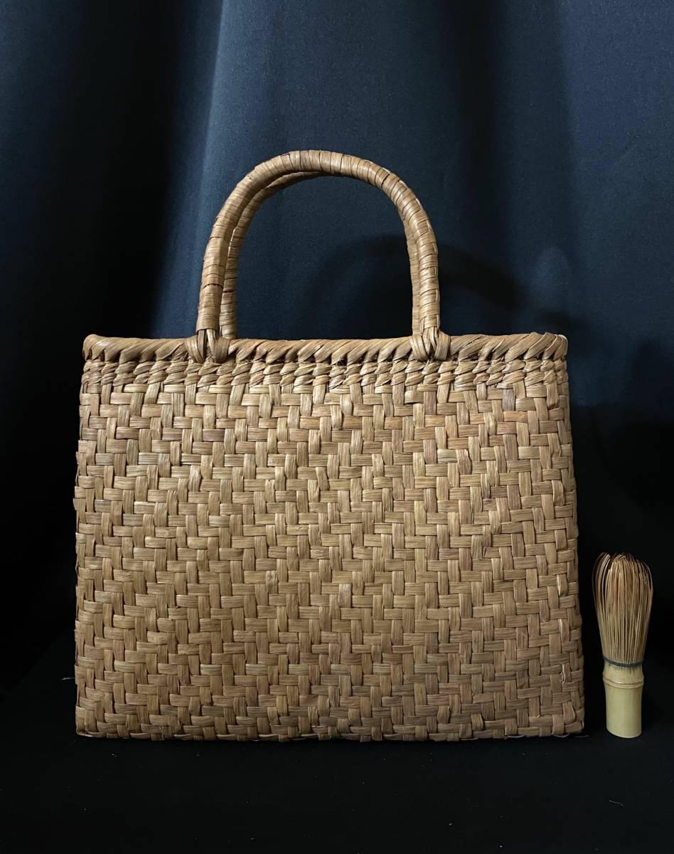 特価出品 国産蔓使用 サイズL 匠の技 職人手編み 網代編み 山葡萄籠バッグ_画像1