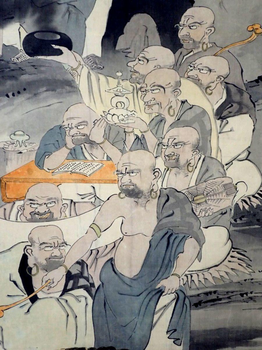 ■晃堂銘 掛軸 十六羅漢図 絹本肉筆/桐箱付き/阿羅漢/虎/仏画/仏教美術 #0228900895_画像4