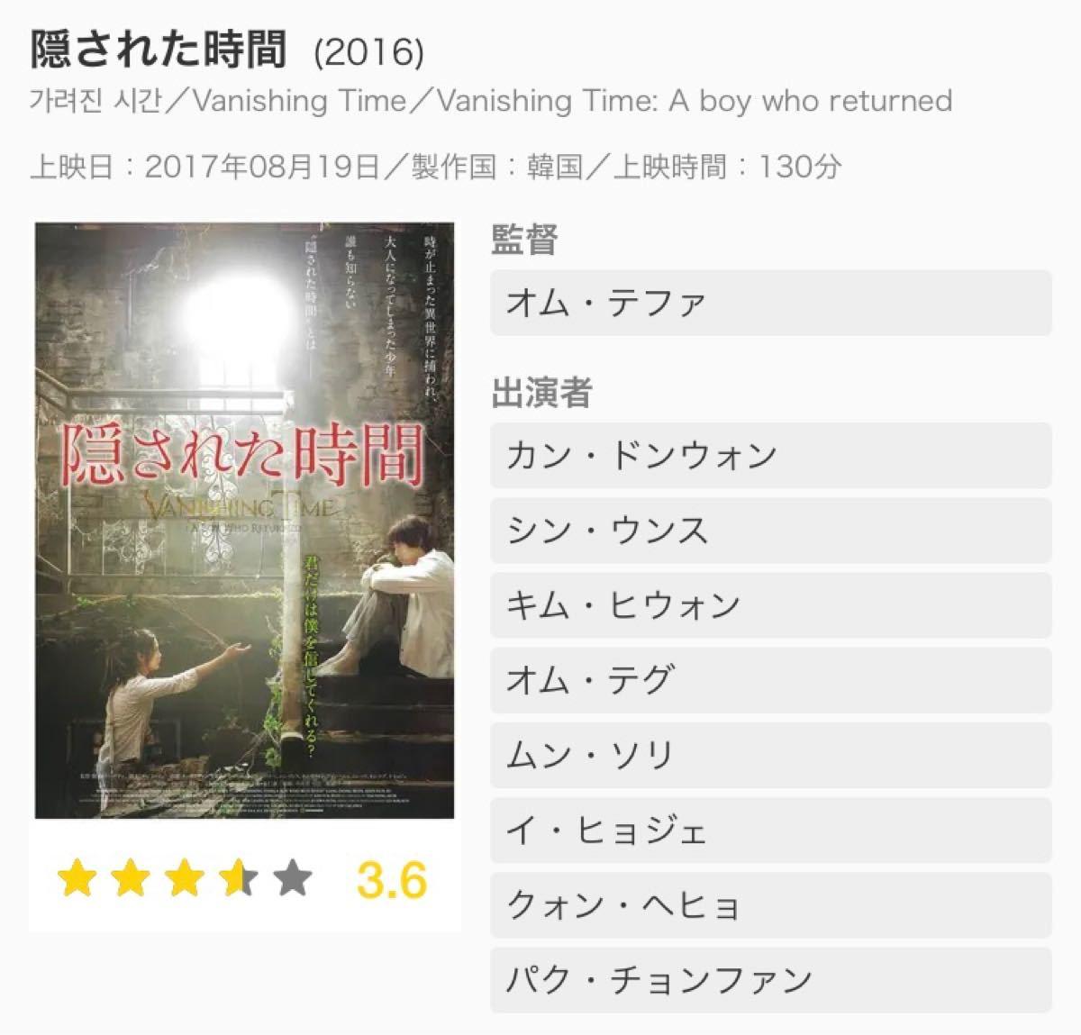 韓国映画DVD【隠された時間】カンドンウォン主演