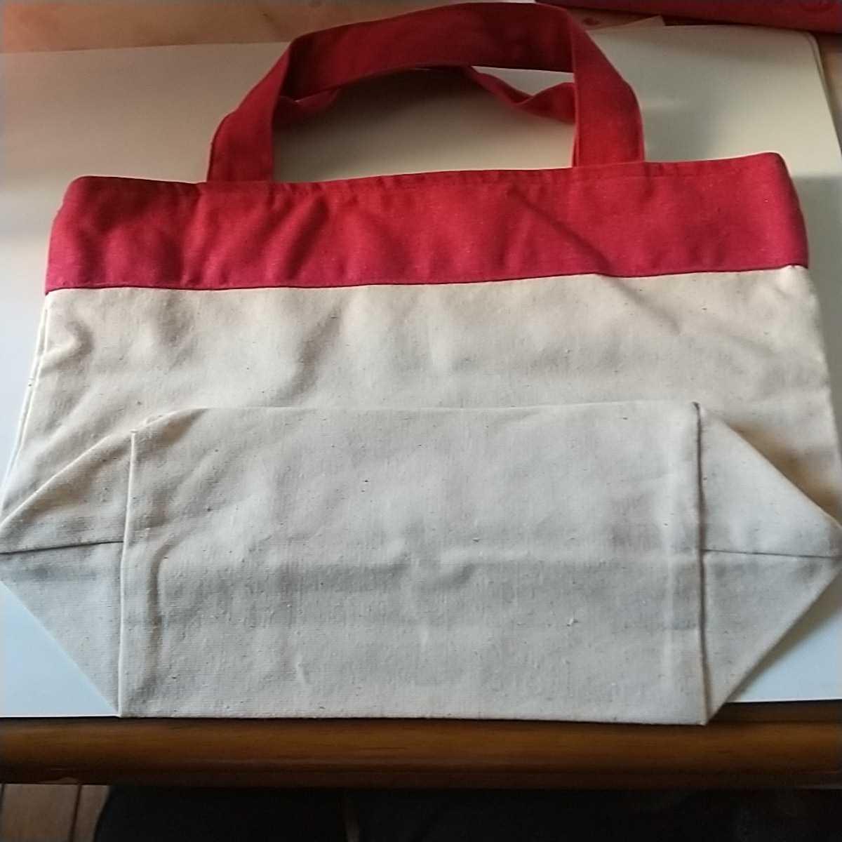 新品 トートバッグ パンドラオリジナルエコバック 横30cm 縦21cmまち11cm お弁当箱入れ 赤 送料無料_画像2