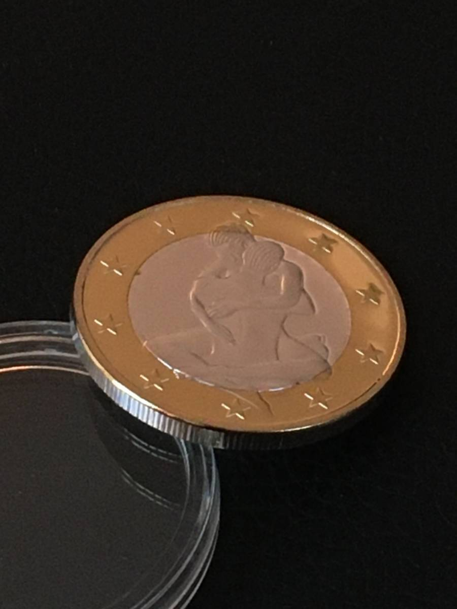 E65)海外丸形記念金、銀2色コイン、メダル*ドイツ体位コイン*参考品1枚 セクシー ノーマジーン 性愛誘惑メダル_画像2