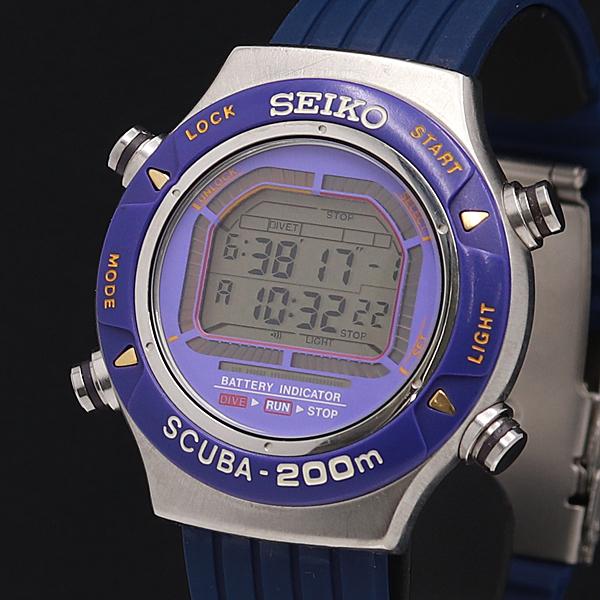 1円★希少◎稼働【SEIKO/セイコー】SCUBA スキューバ ダイバー 200m デジタル S800-001