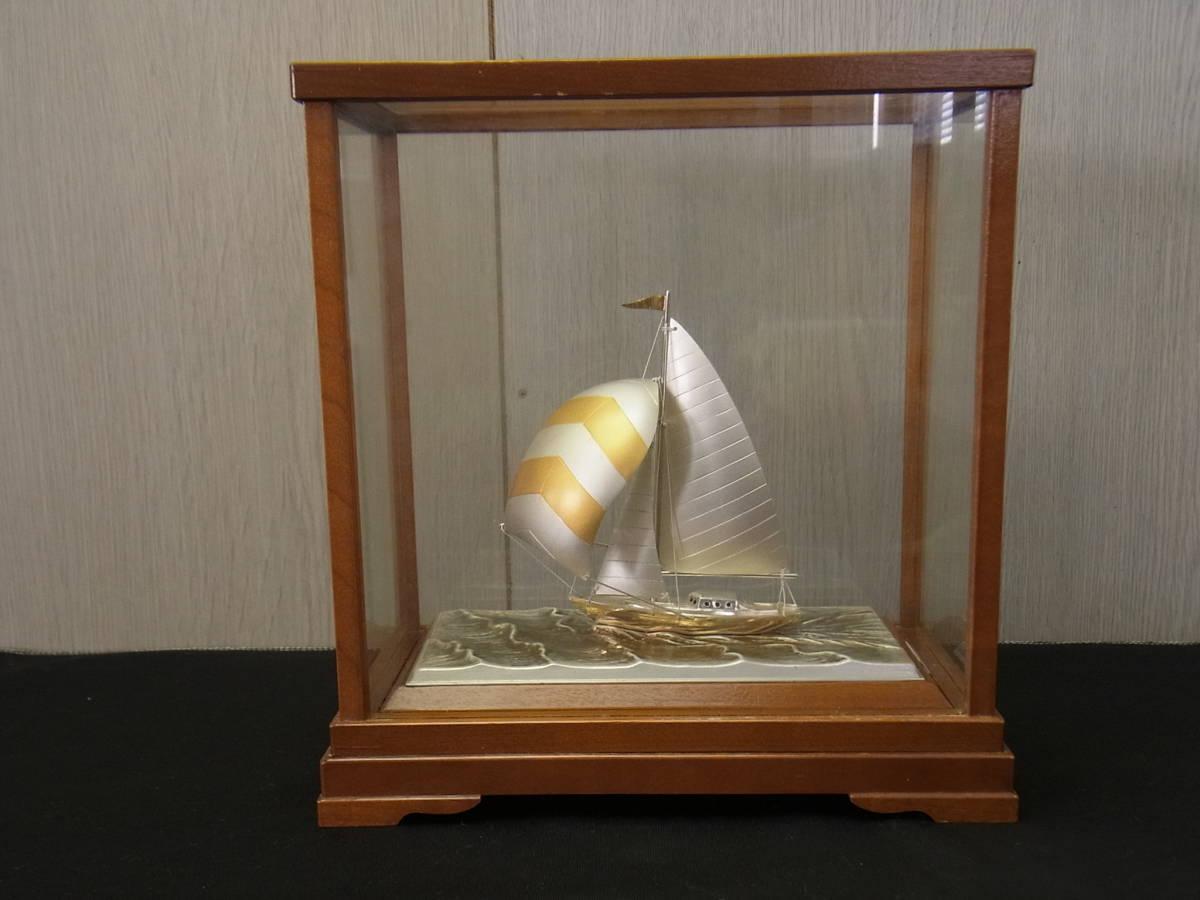 t392 蔵出 銀製 yacht by TAKEHIKO 置物 SILVER985 刻印有 記念品 銀製品 STERLING SILVER 武比古 ヨット オブジェ