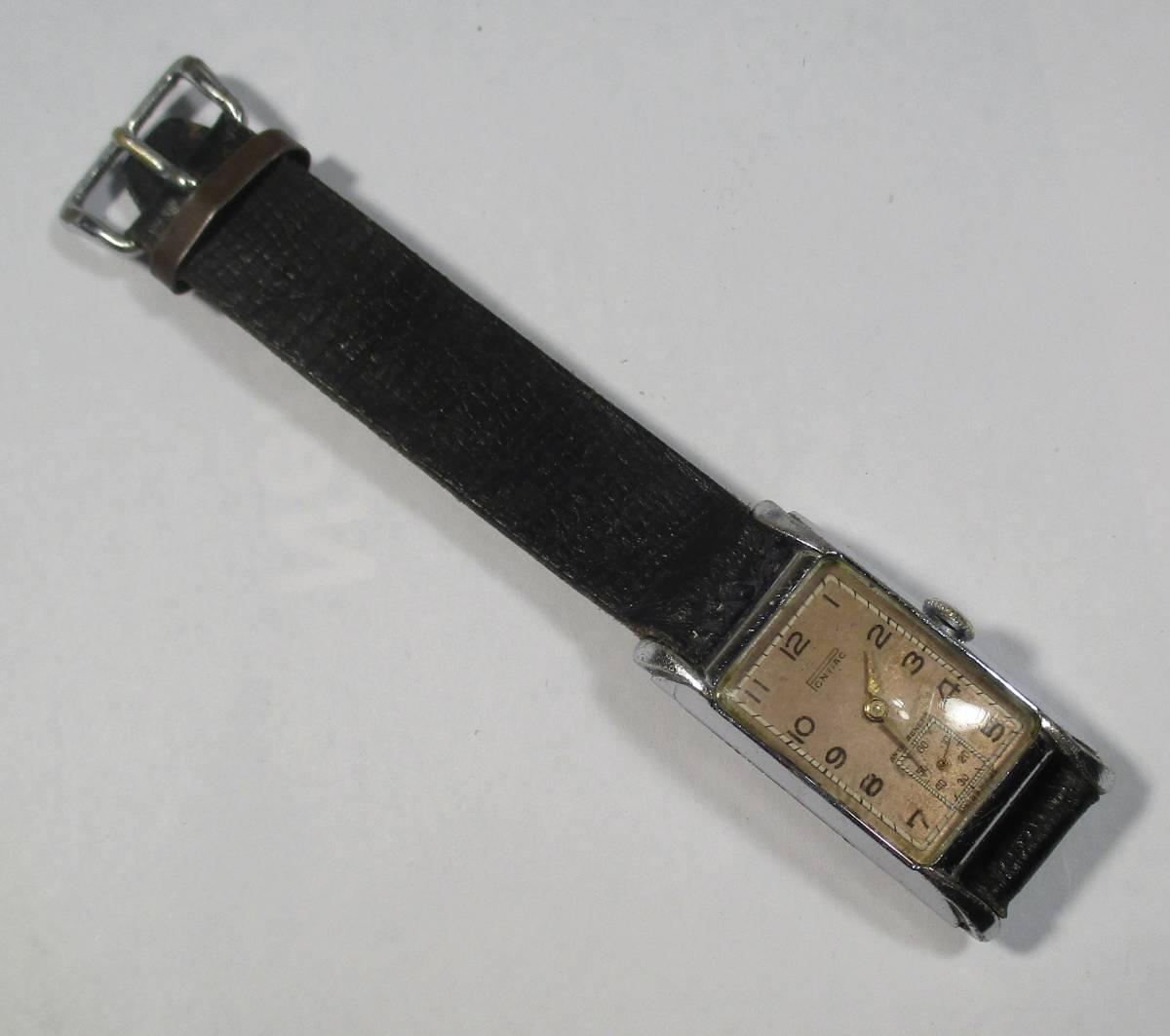 ☆ クロムケース Pontiac 30年代年代 紳士用腕時計_画像8