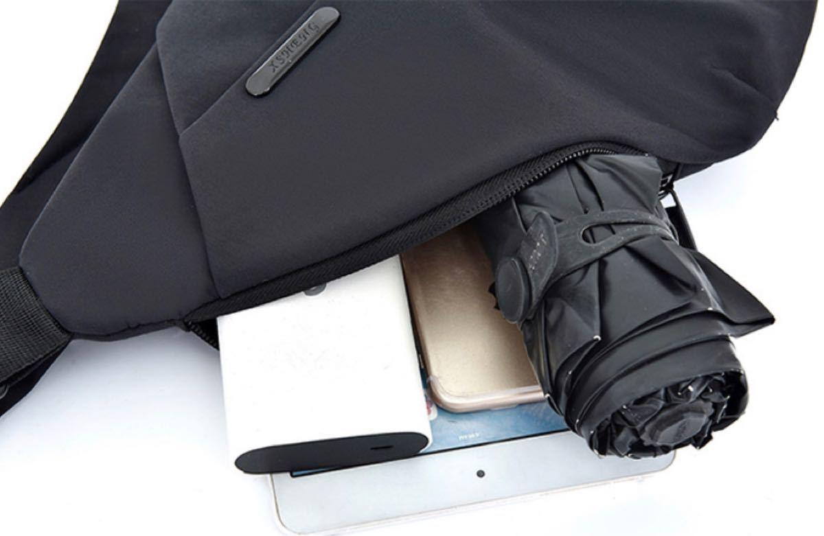 ボディバッグ ショルダーバッグ レディース メンズ ユニセックス 収納 薄型 軽量 防水 斜めがけ 肩掛け スポーティー 黒