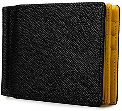 イエロー [レガーレ] 小銭入れ付き マネークリップ 本革 メンズ 財布 カードケース 札はさみ 二つ折り_画像1