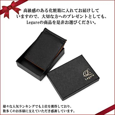 イエロー [レガーレ] 小銭入れ付き マネークリップ 本革 メンズ 財布 カードケース 札はさみ 二つ折り_画像7