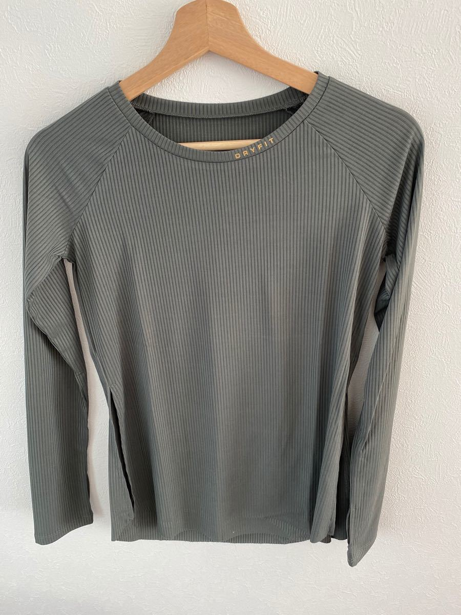 ヨガウェア ヨガ スポーツウェア トップス カットソー Tシャツ リブティーシャツ カーキ S