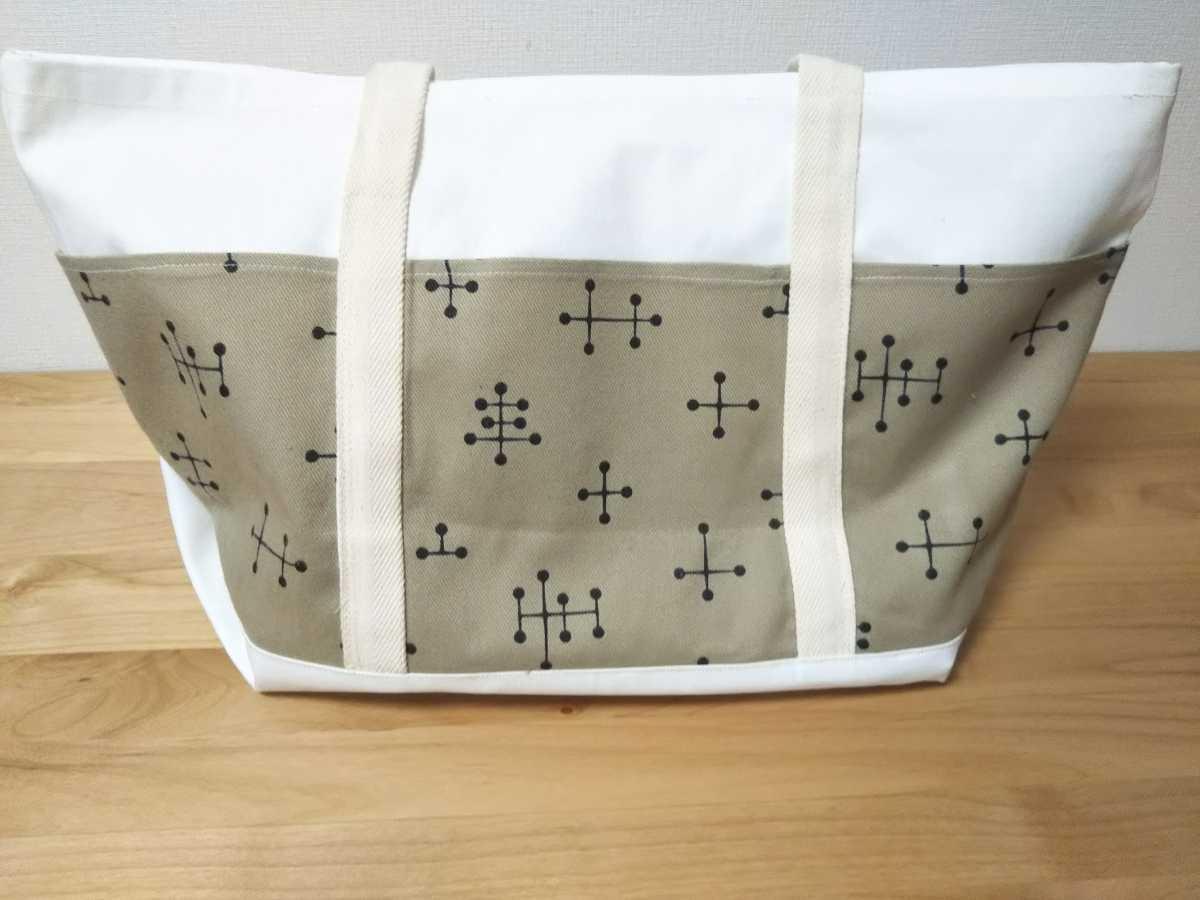 【ハンドメイド】トートバッグ☆ラージ☆ユニセックス☆エコバッグ☆買い物袋☆北欧デザイン風