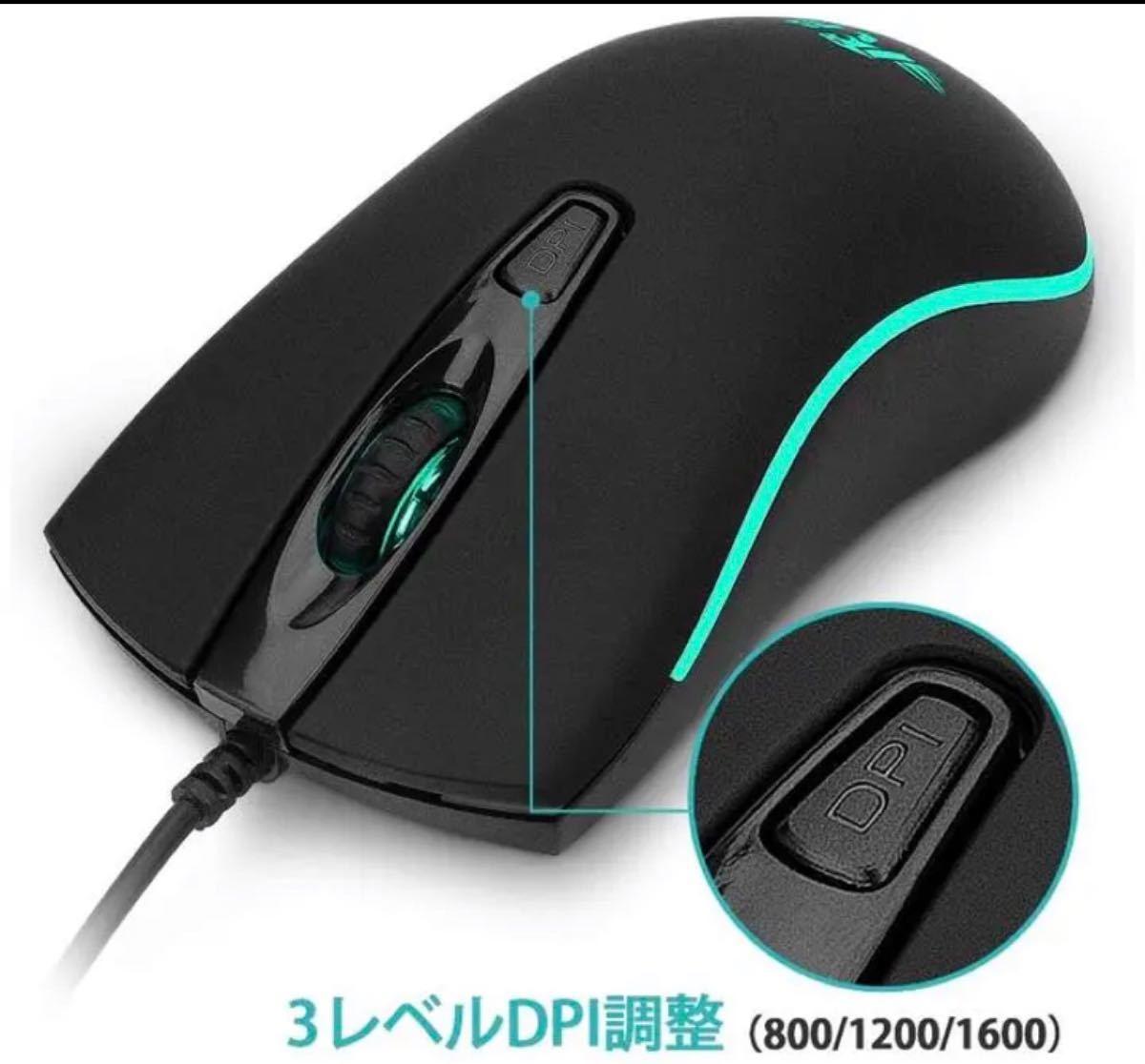 有線マウス USB マウス簡単接続、LEDマウス左右対称型 ブラック