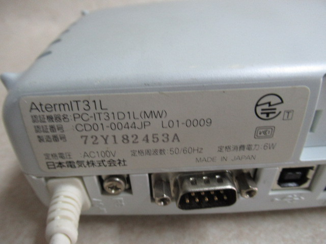 Ω保証有 ZG3★20268★AtermIT31L PC-IT31D1L(MW) NEC ISDNターミナルアダプタ 領収書発行可能 ・祝10000取引!! 同梱可 動作確認済_画像2